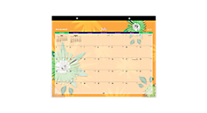 2015 - 2016 Paper Flowers Academic Desk Pad (5035_A5) (Item # 5035_A5)