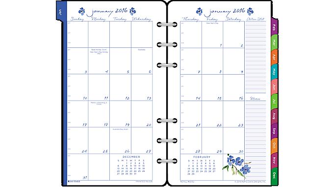 Day Timer 174 2016 Kathy Davis 2 Page Per Month Planner