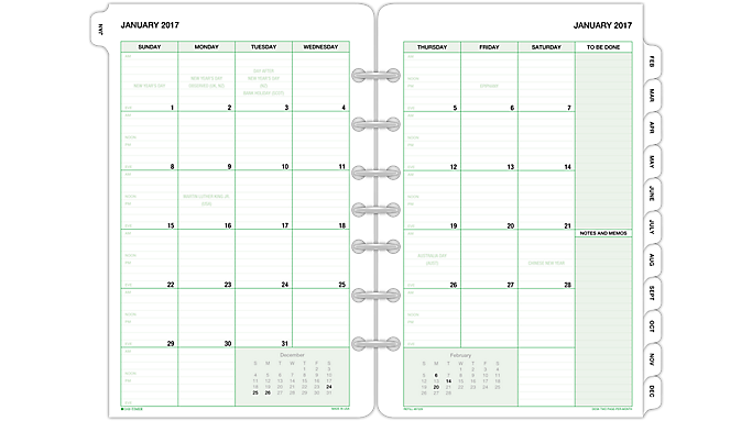 Monthly Calendar Refills : Day timer traditional monthly tabbed calendar refill