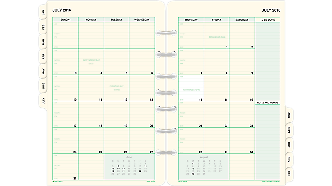 Table Calendar Size : Day timer page per month tabbed calendars desk size