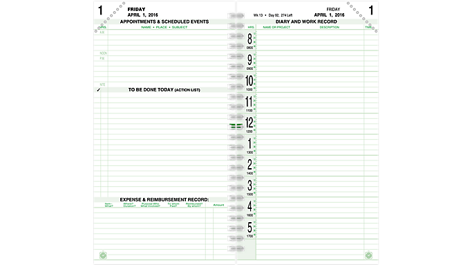 Day-Timer® 2016 2-Page-Per-Day Original Planner Refill Pocket Size  (98010_16)  (98010_16)