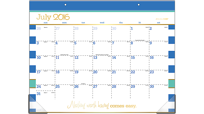 AT-A-GLANCE® 2016 - 2017 Color Pop Academic Monthly Desk Pad (D173-704A_17) (D173-704A_17)