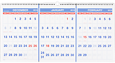 2016 Recycled Three-Month Horizontal Wall Calendar (PM14_16) (Item # PM14_16)