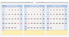 2016 QuickNotes® Recycled 3-Month Horizontal Wall Calendar (PM15_16) (Item # PM15_16)