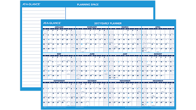 ... GLANCE 2017 Horizontal Erasable Wall Calendar (PM200_17) (PM200_17